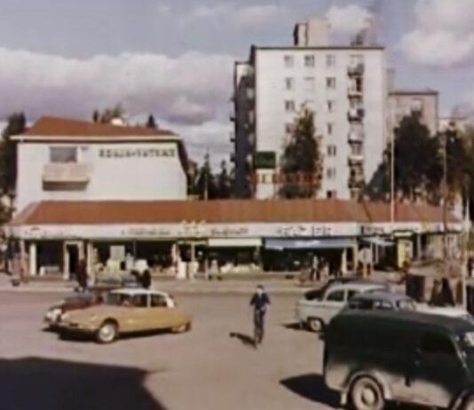 Länsi-Herttoniemen Erätorin ruuhkaa vuonna 1961